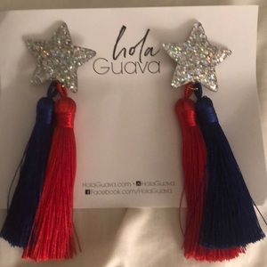 NWT Hola Guava Star Earrings with Tassels